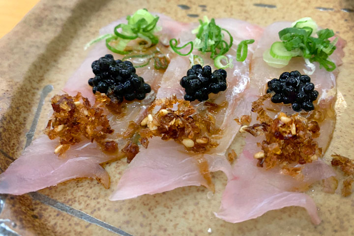 Flounder sashimi with caviar and truffle oil 2